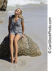 Getting Away from it all - Caucasian blonde female dressed ...