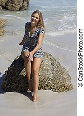 Getting Away from it all - Caucasian blonde female dressed...