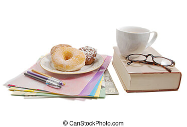 getting down to study, with donuts