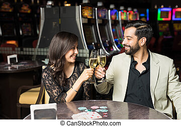 Getting drinks in a casino restaurant