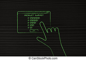 hand about to click on customer survey pop-up message - ...