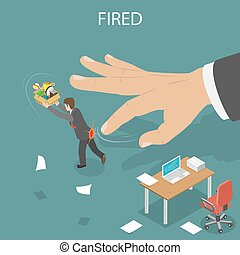 getting fired isometric flat vector illustration - Losing Job Getting Fired From Job