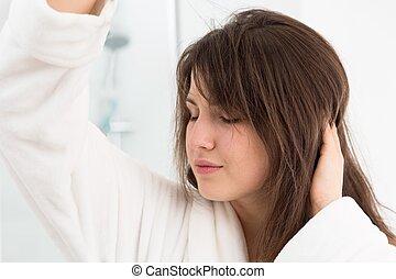 Getting hair dried