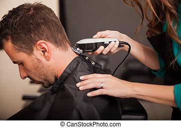 Getting haircut at a salon