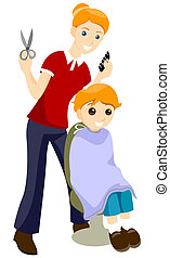 Haircut - Getting Haircut with Clipping Path