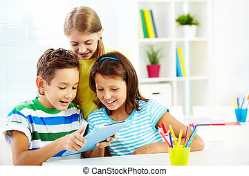 Getting information - Portrait of happy classmates at ...