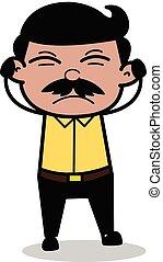 Getting Irritated - Indian Cartoon Man Father Vector Illustration