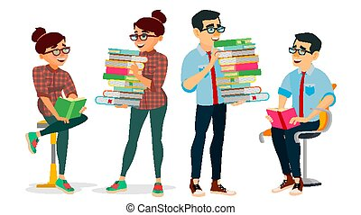 Getting Knowledge Concept Vector. Encyclopedia. Man And Woman In Book Club. Library, Academic, School, University Concept. Self Education, Literature Reading. Isolated Flat Cartoon Illustration