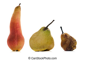 getting old and bold - isolated pears over white background