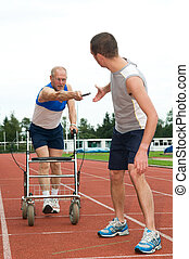 Getting older - Disabled person reaching for an other ...