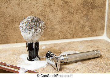 Safety razor and a brush ready for a nice clean shave