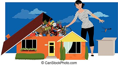 Getting rid of the clutter - Woman decluttering, throwing...