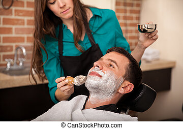 Getting shaved by a girl
