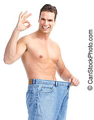 getting slim. Man with big jeans