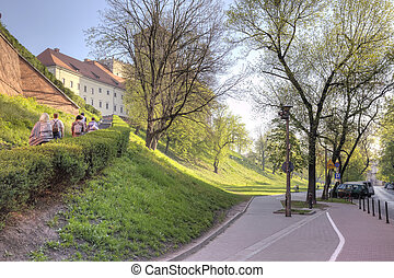Getting up on a hill to the castle Wawel