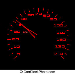 Getting up to speed - Red lit car speedometer against black...
