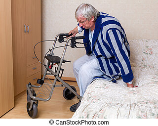 Getting up with a rollator - Elderly grandfather in nursing ...