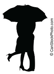 A courting couple, silhouette in the rain, kissing under an umbrella, during a downpour of rain.