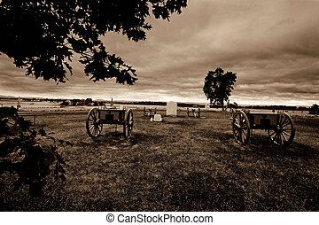 Gettysburg, before the battle - Presented in sepia, war...