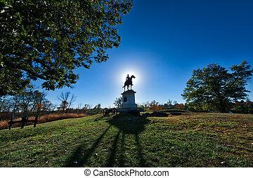 gettysburg, campo batalha, monumento, em, pôr do sol, em,...