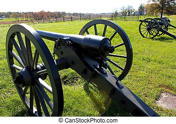 gettysburg cannons on a sunny day