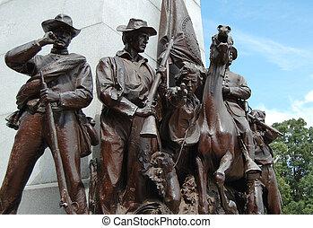 Gettysburg war memorial - A group of Civil War statues in...