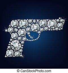 gevär, sminkad, mycket, av, diamanter