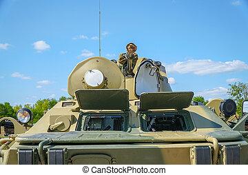 gevär, stridande, infanteri, fordon