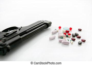 geværet, eller, pillerne, to, valgmuligheder, til, selvmord