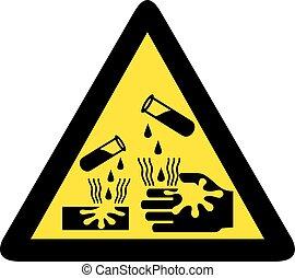 gevaar, corrosief, meldingsbord