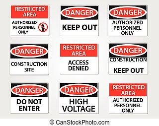 gevaar, en, beperkt gebied, werkplaats, tekens & borden, set