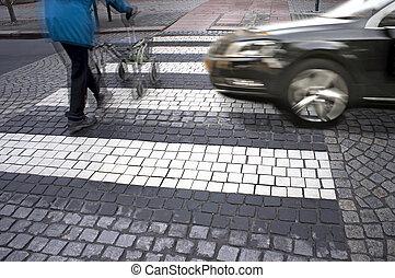 gevaar, op, voetgangersoversteekplaats