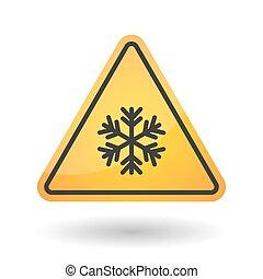 gevaar, signaal, sneeuw flake, vrijstaand, pictogram