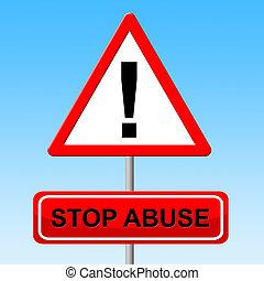 gevaar, stoppen, misbruiken, meldingsbord, indiceert, ...
