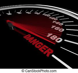 gevaar, -, woord, op, snelheidsmeter