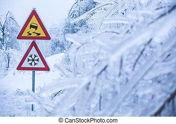 gevaarlijk, en, ijzig, wegaanduiding