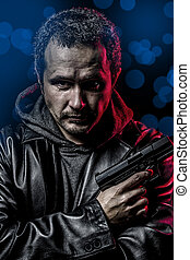 gevaarlijk, geheime agent, met, geweer, en, politie, noodgeval, lichten