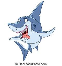 gevaarlijk, haai, spotprent