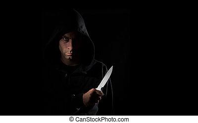 gevaarlijk, hooded, vasthouden, mes, man