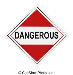 gevaarlijk, waarschuwingsetiket