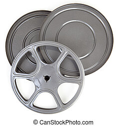 geval, 8mm, film, metaal, tin, ouderwetse , haspel