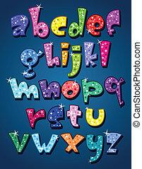 geval, alfabet, onderste, het fonkelen