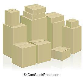 geval, dozen, verhuizing, pakking