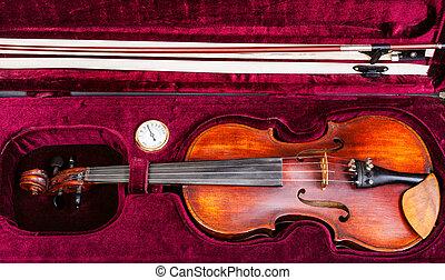 geval, fluweel, bovenzijde, boog, viool, oud, rood, aanzicht
