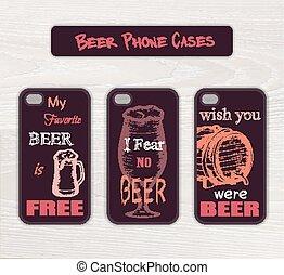 geval, gekke , set, gemaakt, houten, ouderwetse , bier, hand, telefoon, thema, vector, bureau, getrokken, etiket
