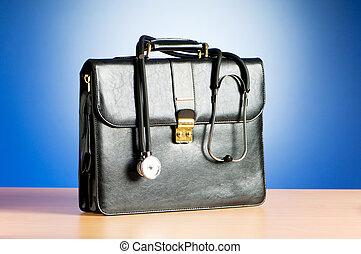 geval, kleurrijke, tegen, stethoscope, achtergrond, arts