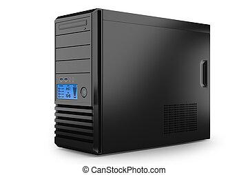 geval, pc., toren, thuis, desktop
