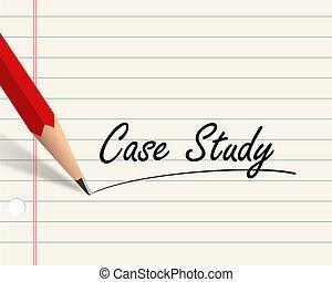 geval, potlood, studeren, papier, -