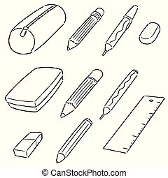 geval, potlood, vector, set