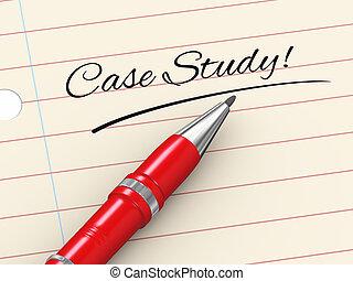 geval, studeren, -, pen, papier, 3d